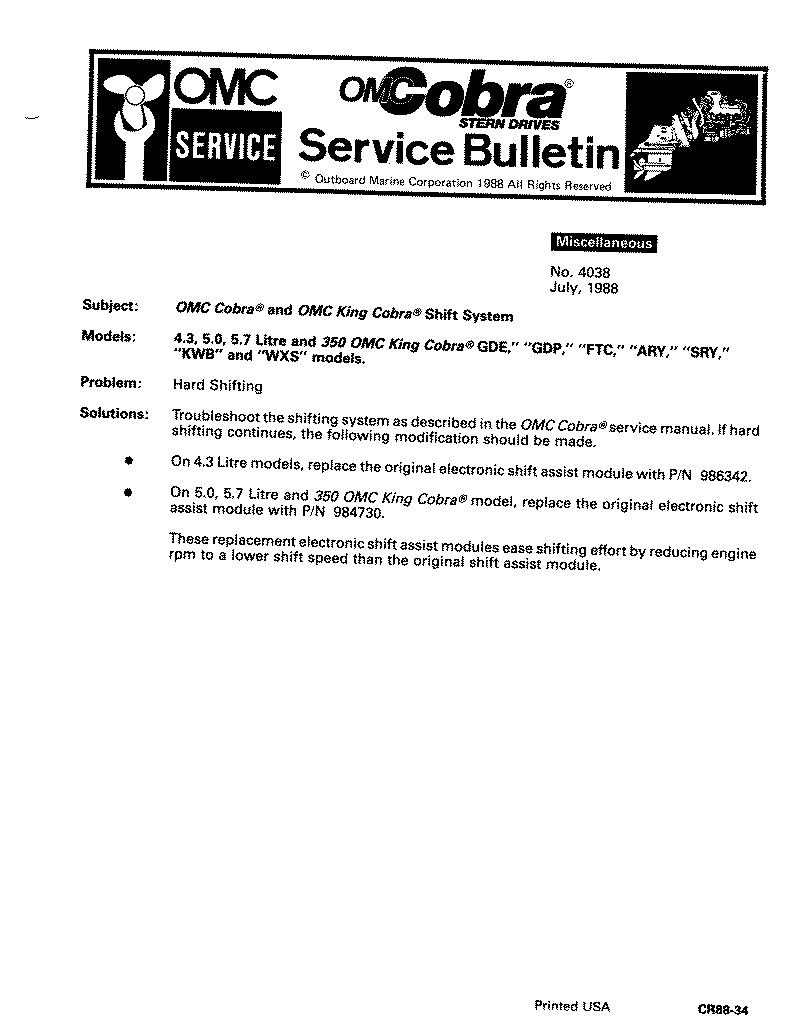 Omc Cobra Sterndrive Tech Info Volvo Penta 5 0 Gxi E Wiring Diagram This Is A Catch All Of Typical Problems That Make The Hard To Shift My Own Unit Had None These Yet I Found Pages Very Interesting